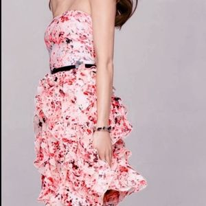 Strapless Floral Ruffle Dress